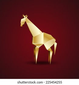 vector golden origami giraffe