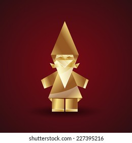 vector golden origami gnome