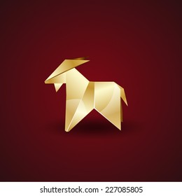 vector golden origami goat