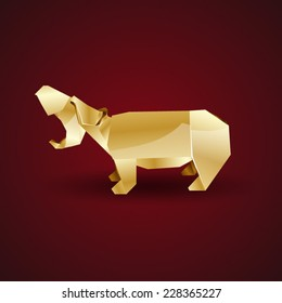 vector golden origami hippo
