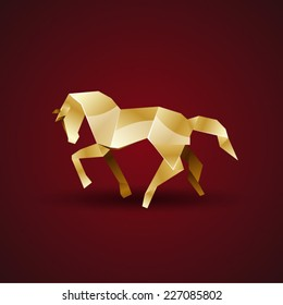 vector golden origami horse
