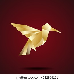vector golden origami hummingbird