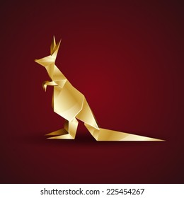 vector golden origami kangaroo