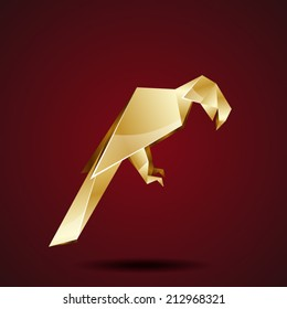 vector golden origami parrot