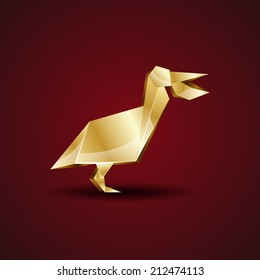 vector golden origami pelican
