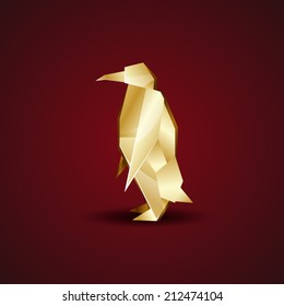 vector golden origami penguin