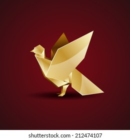 vector golden origami pigeon