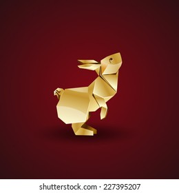 vector golden origami rabbit