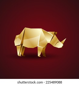 vector golden origami rhino