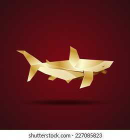 vector golden origami shark