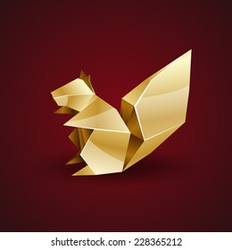 vector golden origami squirrel