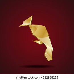 vector golden origami woodpecker
