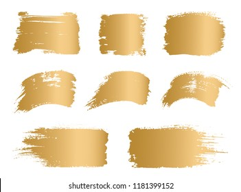 Vector golden paint, ink vector brush stroke, brush, frame or texture. Grunge gold paintbrushes, backgrounds, ink boxes. Banner, shape, logo, icon, label, sticker and badge set. Blank design elements