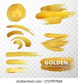 Vector golden paint strokes, stain set. Abstract golden sparkling textured art illustration. Vector