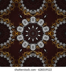 Vector golden pattern. Oriental style arabesques. Colored pattern on brown background with golden elements. Golden textured curls.