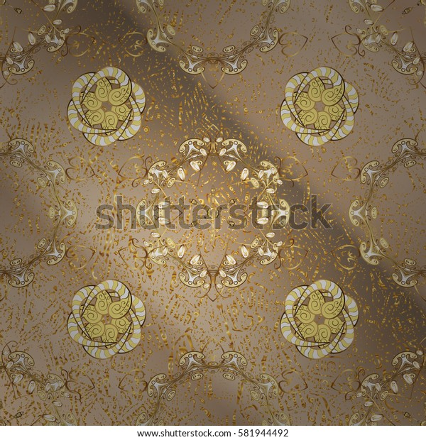 Vector golden pattern. Golden textured curls. Oriental style arabesques. Neutral background with golden elements.