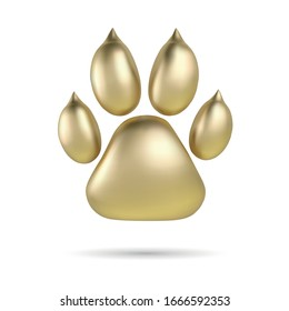 Vector Golden paw print of animal logotype or icon isolated on white background. Dog paw footprint logo. 2018 Year of Dog.