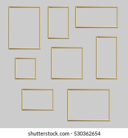 Vector golden photo or picture frame in different proportions and sizes.