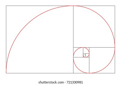 Vector Golden Ratio. Golden Mean. Golden Section. Divine proportions. Spiral shell.