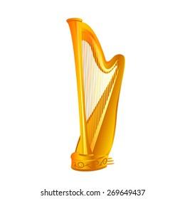 vector golden realistic harp