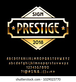 Vector Golden reflective Sign Prestige. Set of gradient Metallic Alphabet Letters, Numbers and Symbols