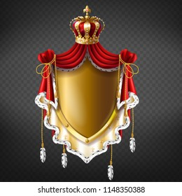 Vector golden royal coat of arms with crown, shield and fringe fur. Template of gold label for companies, business. Elegant premium element for advertising, promotion or web design