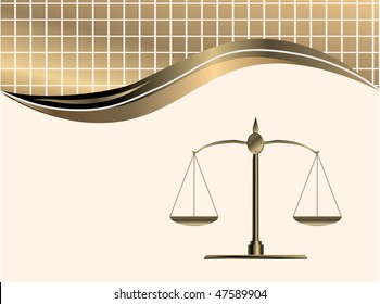 vector golden scale weight on background