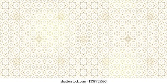 Vector golden seamless pattern. Elegant geometric illustration, for design template. Luxury element in Eastern style. Ornate decoration for wallpaper, background, web page. Arabic motifs, ornament.