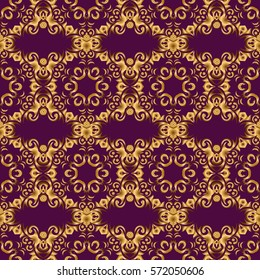 Vector golden seamless pattern. Seamless floral border with vintage golden ornament on purple background.