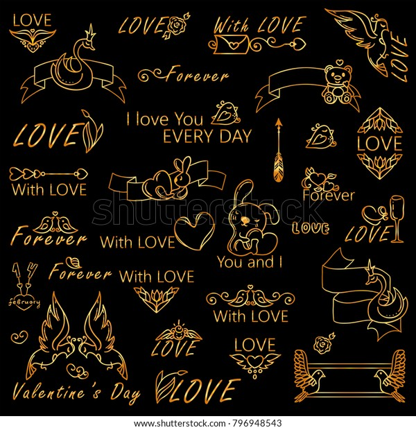 Vector Golden Set Logotypes Labels Signs Stock Vector