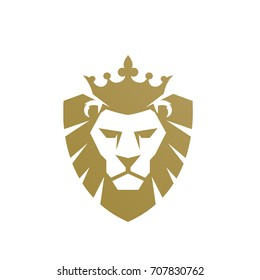 Vector Golden Shield Lion Crowning Logo