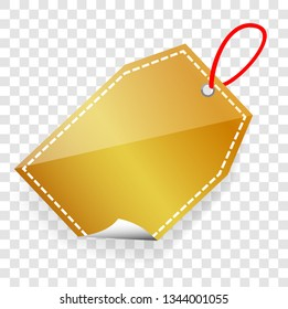 Vector golden Shining rectangle Blank Tag with soft shadow at transparent effect background