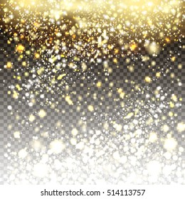 Vector golden and silver glitter particles background effect for luxury greeting card. Star dust sparks in explosion on transparent background. Sparkling texture