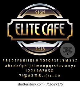 Vector Golden and Silver Logo Template for Elite Cafe. Luxury set of Letters, Numbers, Symbols. Graphic Style Font