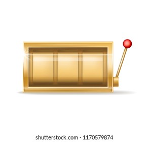 Vector golden slot machine with empty reel, shiny metal element. One-handed bandit with coins, jackpot. Gambling equipment with shadow isolated on white background. Casino concept with luck.