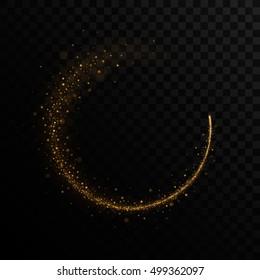 Vector golden sparkling comet, stardust trail. Isolated in black transparent background. Vector illustration, eps 10.