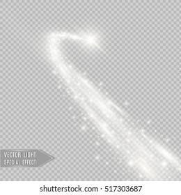 Vector golden sparkling falling star. Stardust trail.
