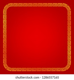 vector golden square frame, china style, for certificate, placard, backdrop, and other, red gradual background