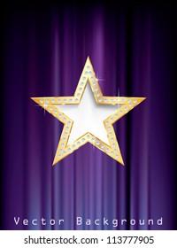 vector golden star with diamonds on purple curtain