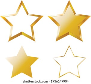 vector golden stars. flat image of a bright yellow star. five pointed star
