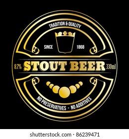 vector golden stout beer label