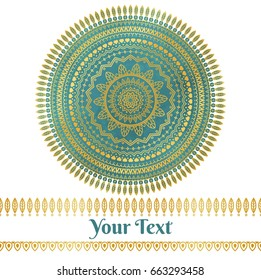 Vector golden and teal mandala background
