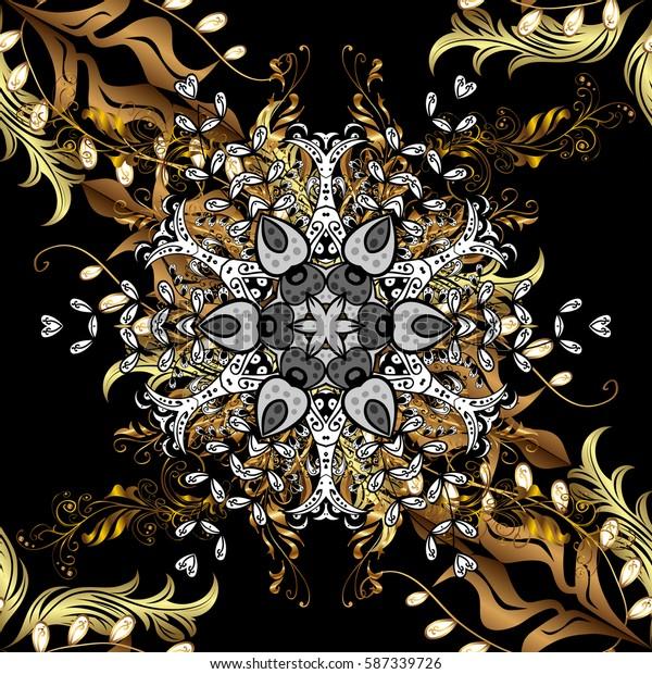 Vector golden textile print. Golden pattern on black background with golden elements. Floral tiles. Seamless pattern oriental ornament. Islamic design.