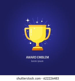 Vector golden trophy cup first place winner award with stars vector illustration isolated on blue background.