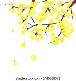 vector golden trumpet , beautiful yellow tree