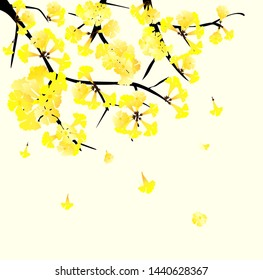 vector golden trumpet , beautiful yellow tree