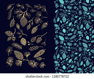 Vector golden - turquoise pine cones, seeds, branches on dark background