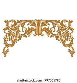 Vector golden vintage border frame engraving with retro ornament pattern in antique baroque style decorative design.Golden vintage baroque ornament, corner. Retro pattern antique style acanthus.