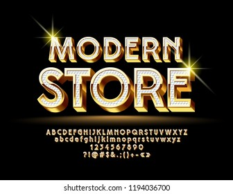Vector Golden and White bright Font with emblem Modern Store. 3D luxury Alphabet Letters set