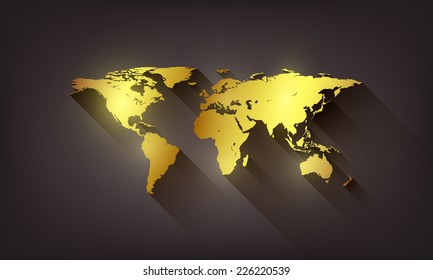 Vector golden world map illustration on dark background.
